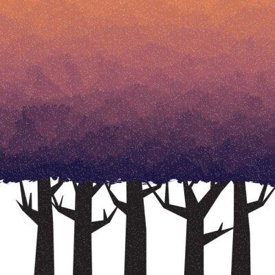Sticker Forêt épaisse au crépuscule