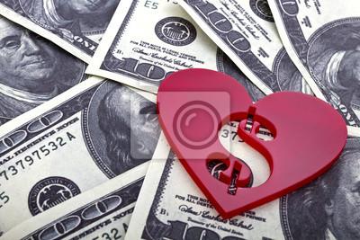 Forme de coeur rouge avec un signe de dollar