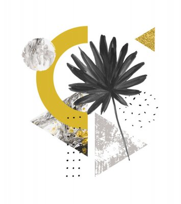 Sticker Formes géométriques abstraites de l'été, feuille exotique. Triangles remplis de marbre, textures grunge, griffonnages, feuille de palmier aquarelle en éventail. Illustration d'art géométrique peinte à