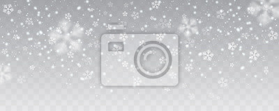 Sticker Fortes chutes de neige de vecteur, flocons de neige dans différentes formes et formes. Beaucoup d'éléments de flocon froid blanc sur fond transparent. Flocons de neige blancs volant dans l'air. Flocon