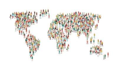 Sticker Foule, gens, composition, monde, carte