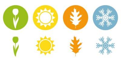 Sticker four season summer spring autumn winter symbol vector illustration EPS10