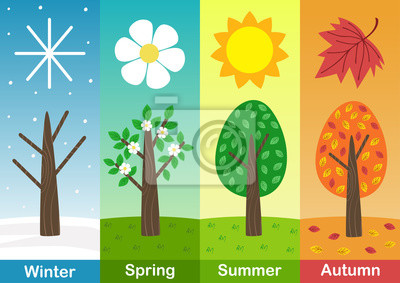 Sticker four seasons banners with  trees  - vector illustration, eps