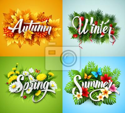 Sticker Four Seasons typographique bannière. Vector illustration