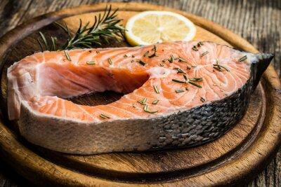 Sticker Fraîches, cru, saumon, bois, découpage, planche