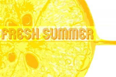 Sticker Frais, citron, texte, frais, Été