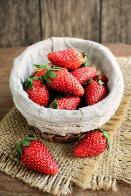 Sticker Frais, fraises, rustique, bois, table