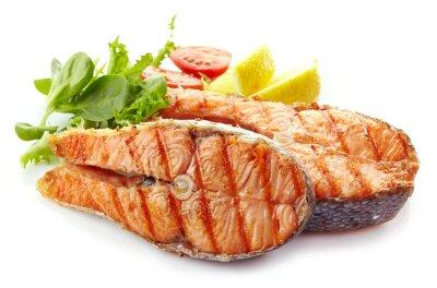 Sticker frais grillés tranches de steak de saumon