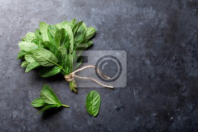 Sticker Frais, menthe, feuilles, herbe, pierre