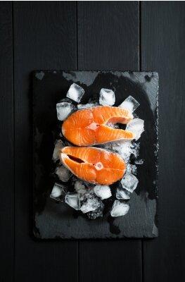Sticker Frais, morceaux, saumon, glace