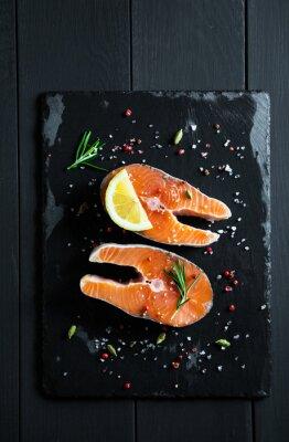Sticker Frais, tranches, saumon, citron, épices