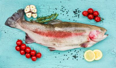 Sticker Frais, truite, fish, légumes, bleu, bois, table Vue de dessus