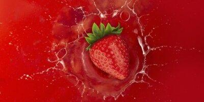 Sticker Fraise, éclaboussure, rouges, jus, liquide