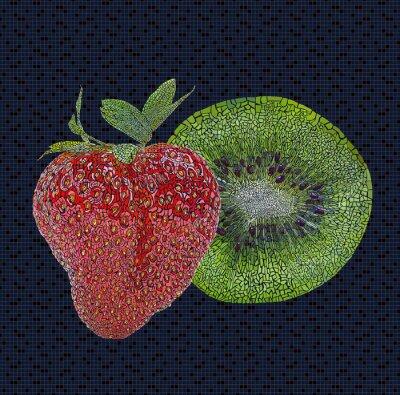 Sticker Fraise et de kiwi illustration
