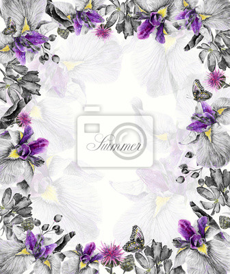 Frame of watercolor lilac irises, butterflies, cornflowers, blue