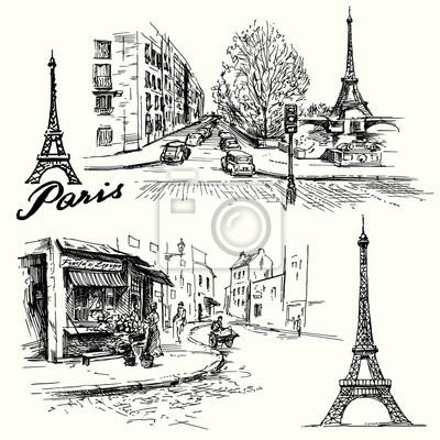 Sticker France, Paris - Tour Eiffel - dessinés à la main ensemble