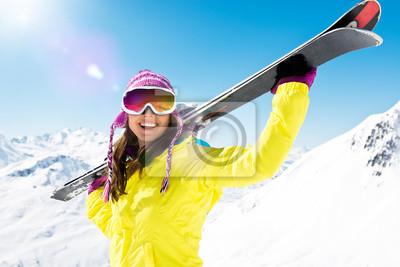 Sticker Frau trägt ski