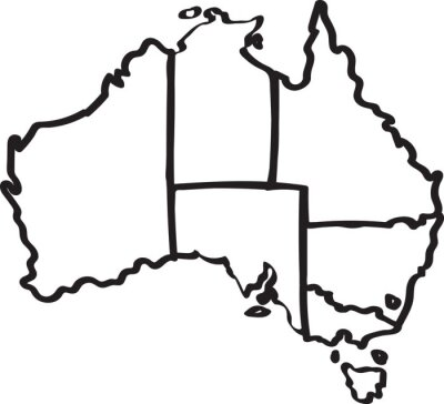 Sticker Freehand Australie carte de la région croquis sur fond blanc. Illustration vectorielle.