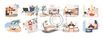 Sticker Freelance people work in comfortable conditions set vector flat illustration. Freelancer character working from home or beach at relaxed pace, convenient workplace. Man and woman self employed concept