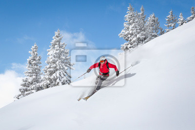 Sticker Freeride, skiier, équitation, profond, poudre, neige
