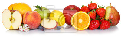 Sticker Fresh fruits collection apple fruit apples lemon orange food isolated on white in a row