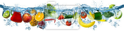Sticker fresh multi fruits and vegetables splashing into blue clear water splash healthy food diet freshness concept isolated white background