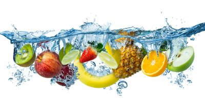 Sticker fresh multi fruits splashing into blue clear water splash healthy food diet freshness concept isolated white background