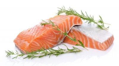 Sticker Fresh raw salmon fillet with herbs