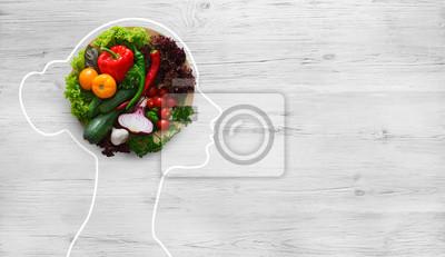 Sticker Fresh vegetables in woman head symbolizing health nutrition