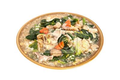 Fried Rice Noodles Garnie de porc, isolé