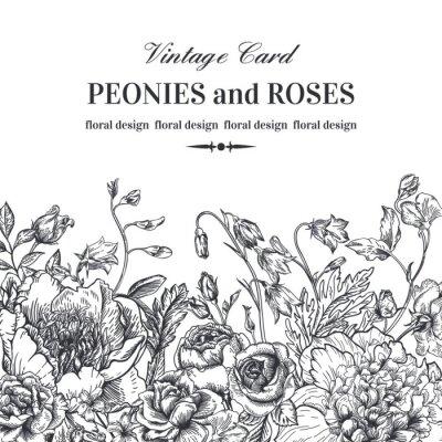 Sticker Frontière floral avec des fleurs d'été.