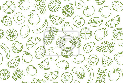 Sticker Fruit and berry background, abstract food seamless pattern. Fresh fruits wallpaper with apple, banana, strawberry, watermelon, line icons. Vegetarian grocery vector illustration, green white color