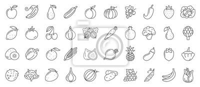 Sticker Fruit berry vegetable food line icon vector set