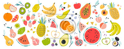Sticker Fruit collection in flat hand drawn style, illustrations set. Tropical fruit and graphic design elements. Ingredients color cliparts. Sketch style smoothie or juice ingredients.