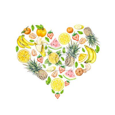 Fruit en forme de coeur. Ananas de melon d'eau banane orange citron tangerine et de fraises sur un fond blanc. Illustration d'aquarelle. Travail à la main.