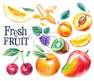 Fruit sur un fond blanc. croquis, illustration