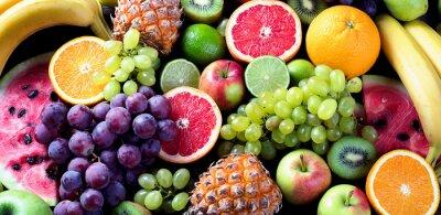 Sticker Fruits biologiques Concept de la saine alimentation. Vue de dessus