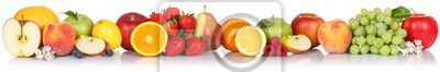 Sticker Fruits collection apple apples orange berries grapes banner fresh fruit isolated on white in a row