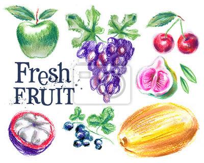 fruits frais sur un fond blanc. nourriture