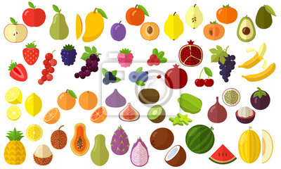 Sticker fruits vector icon set