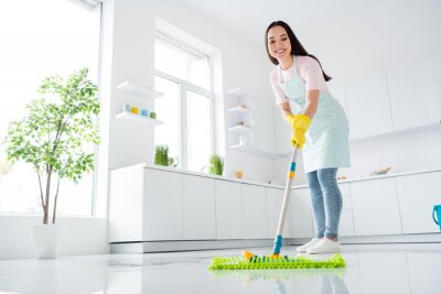 Sticker Full length body size view of her she nice attractive cheerful cheery hardworking girl making fast domestic work wiping perfect ceramic floor in modern light white interior kitchen indoors