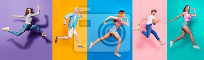 Sticker Full length body size view photo portrait collage of running sporty people in striped T-shirt overalls looking in front striving progress active life isolated on bright colorful different background