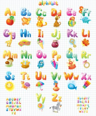 Sticker Funny Alphabet with pictures for children
