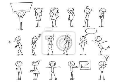 Sticker Funny children drawings - set of stick figures in different poses. Material for slide shows, presentations and all sorts of prints. Simple hand drawn doodles in black and white.