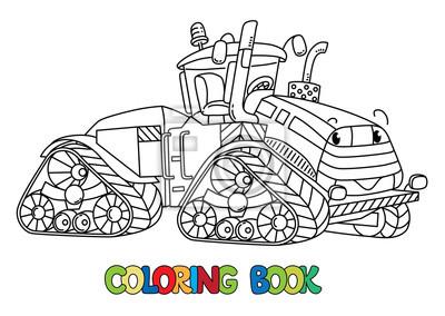 Sticker Funny Gros Tracteur Avec Des Yeux Livre De Coloriage