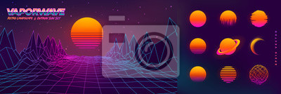 Sticker Futuristic neon retrowave background. Retro low poly grid landscape mountain terrain with set of glowing outrun sun vector illustration template