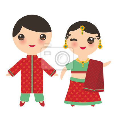 Garcon Indien Kawaii Et Une Fille En Costume National Dessin