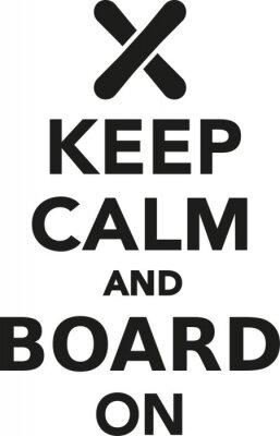 Sticker Gardez le calme et la planche sur le snowboard