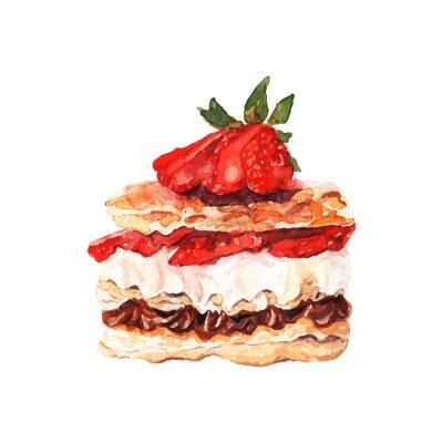 Sticker Gâteau avec des baies dessinées aquarelle. Conception pour bannières et cartes.