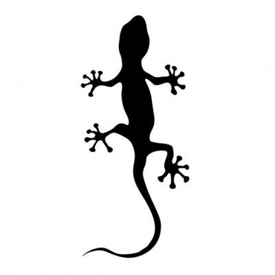 Sticker gecko en noir silhouette illustration vectorielle